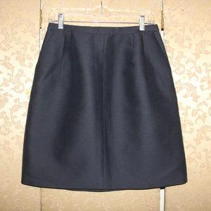 J. Crew Navy Collection wool-silk A-line skirt 6